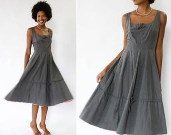 50s Day Dress S • Cotton Sundress • Gray Dress • Cotton Summer Dress • Tulle Dress • Fit and Flare Dress with Pocket | D1128