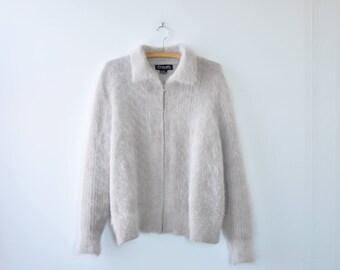 80s Jacket M/L • Angora Sweater Jacket • Fuzzy Jacket • Spring Jacket • Fuzzy Sweater • 80s Sweater • Pink Jacket | O234