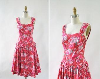 Laura Ashley Dress S • Bow Dress • 80s Dress • Red Floral Dress • Garden Party Dress • Cotton Summer Dress • Vintage Floral Dress | D1288