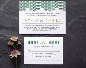 Art Deco Wedding Invitation / 'Gatsby' 1920s Modern Vintage Wedding Invite / Deep Emerald Green Gold / Custom Colours Available / ONE SAMPLE