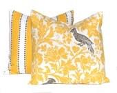 Two Yellow Pillow Covers - Throw Pillow Covers - Stripe Pillows - Bird Pillow - Yellow Decor - Sofa Pillow Covers - Living Room Decor