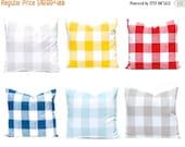 30% Off Sale Buffalo Check Pillow Covers, Plaid Pillow Covers, Decorative Pillow Covers, Throw Pillow Covers, Red Pillows, Aqua Pillows, Tan