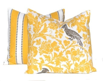 Pair of Two Yellow Pillow Covers - Taupe Accents - Birdie and Stripe Print - Designer Cotton Slub Fabric