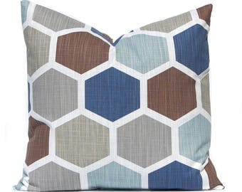 Blue Pillow Covers - Throw Pillows - Designer Pillow Covers - Living Room Decor - Decorative  Pillow Covers - Sofa Pillow Covers - Hexagon