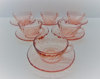 Vintage Arcoroc France Rosaline Teacups and Saucers