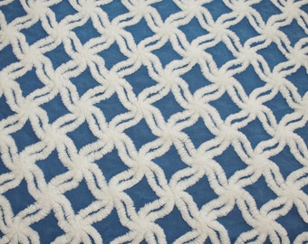Royal Blue Hofmann Star Lattice Vintage Chenille Bedspread Fabric Piece - 24 x 19 Inches