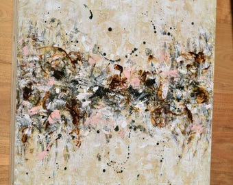 Abstract landscape Painting Encaustic Gestural Painting Neutral cream sienna Awakening 20x16
