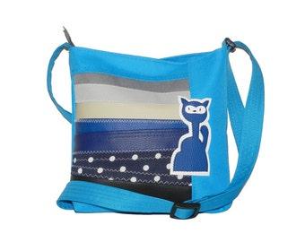 5165, Children's bag with kitten, childrens's shoulder bag with kitten, children's crossbody bag, children's crossover bag,  kitty kids bag