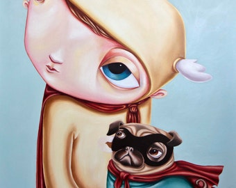 Super Pug - A3 Limited Edition signed Pop Surrealism Fine Art Print - by Rachel Favelle