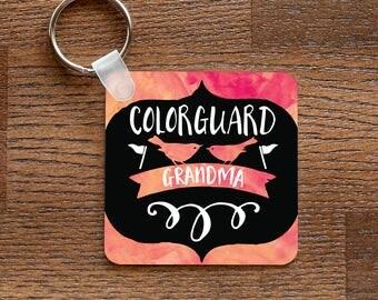 Colorguard Grandma - Peach Pink Music and Birds Themed Keychain