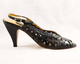 Size 6 Shoes - Sexy 1980s Brazilian Peep Toe Sandals - Black Cutout Leather Huarache Style - 3 Inch Heels - Unworn 80s Deadstock - 47878