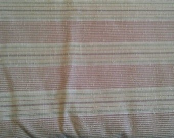 Mauve, Gray and Natural Striped Decorator Fabric 2 1/2 Yards X0734