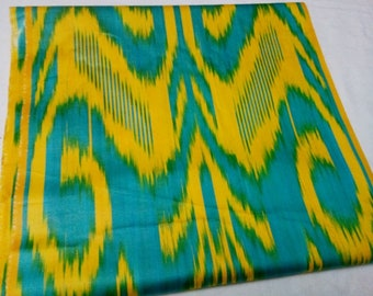 Uzbek traditional turquoise-yellow cotton woven ikat fabric by meter. F020