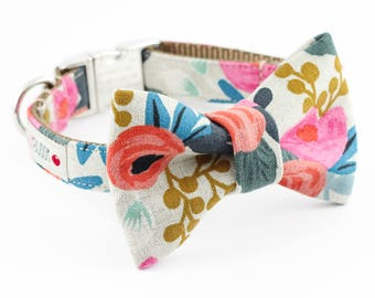 Les Fleurs Rosa Natural Dog Bowtie Collar - Rifle Paper Co.