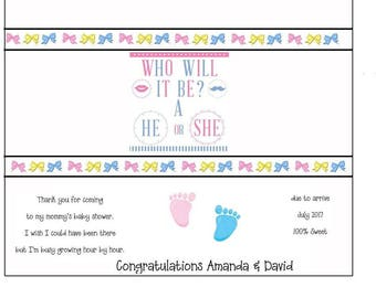 Printable Baby Shower Party Chocolate Bar Wrapper Gift Favors for Your Baby Shower Personalized For You