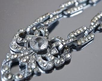 Czech Necklace Vintage Art Deco Bridal Jewelry Chrome Rhinestone Links