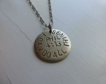 I Can Do All Things, Phil 4:13, confirmation gift for girls, hand stamped metal necklace, bible verse jewelry, christian, strength, faith
