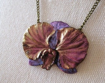 FIRE POLISHED resin phalaenopsis moth orchid necklace