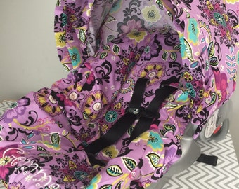 PURPLE floral Flowers baby Infant Car Seat Cover and Canopy/visor with Free Monogram
