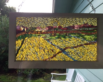 "20"" x 34"" Large Stained Glass Mosaic Vintage Window Inspired by Van Gogh's ""Wheat Field"""