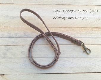 ID holder leather lanyard, gift for him, key strap, Leather neck strap, Leather lanyard,  ID holder badge, gift for her