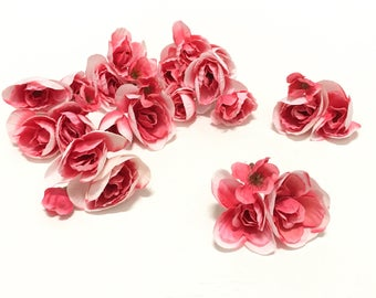 25 + PINK and WHITE Begonia Flowers On Short Stems - Artificial Flowers, Silk Flowers, Flower Crown, Millinery, DIY Wedding, Corsage, Hat