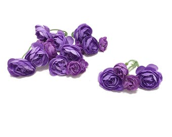 20 Small Artificial Ranunculus in Shades of Purple - Artificial Flowers, Silk Flowers, Flower Crown, Hair Accessories, Wedding, Millinery