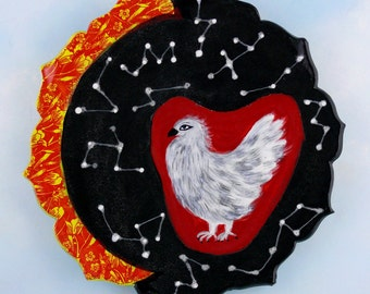 Cosmic Chicken Platter, hand-made pottery by Cathy Kiffney
