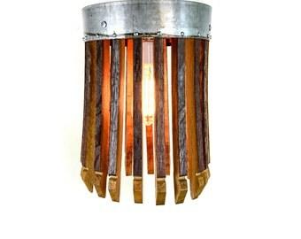 "Wine Barrel Flush Mount Ceiling Light - CRAFTSMAN  - ""Kinoe"" - 100% RECYCLED"
