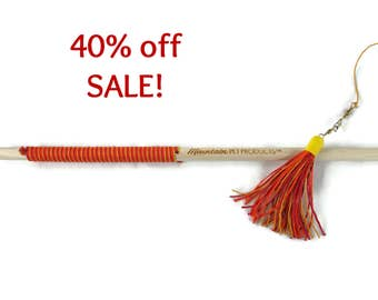 32 Inch Tassel Teaser Cat Wand Toy - Hemp Cat Toy - All Natural - Red, Orange, Yellow - Save 40%