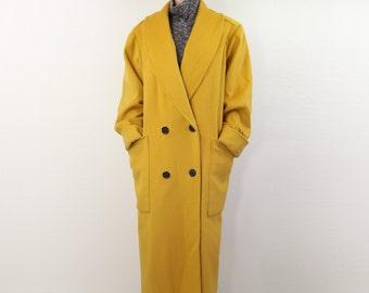 VINTAGE Yellow Coat 1980s Mustard Wool