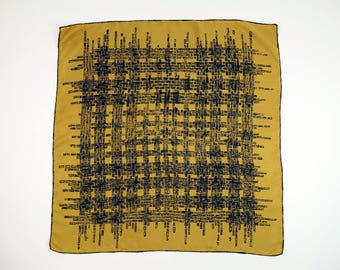 VINTAGE Mid Century Scarf Gold Black Printed Square