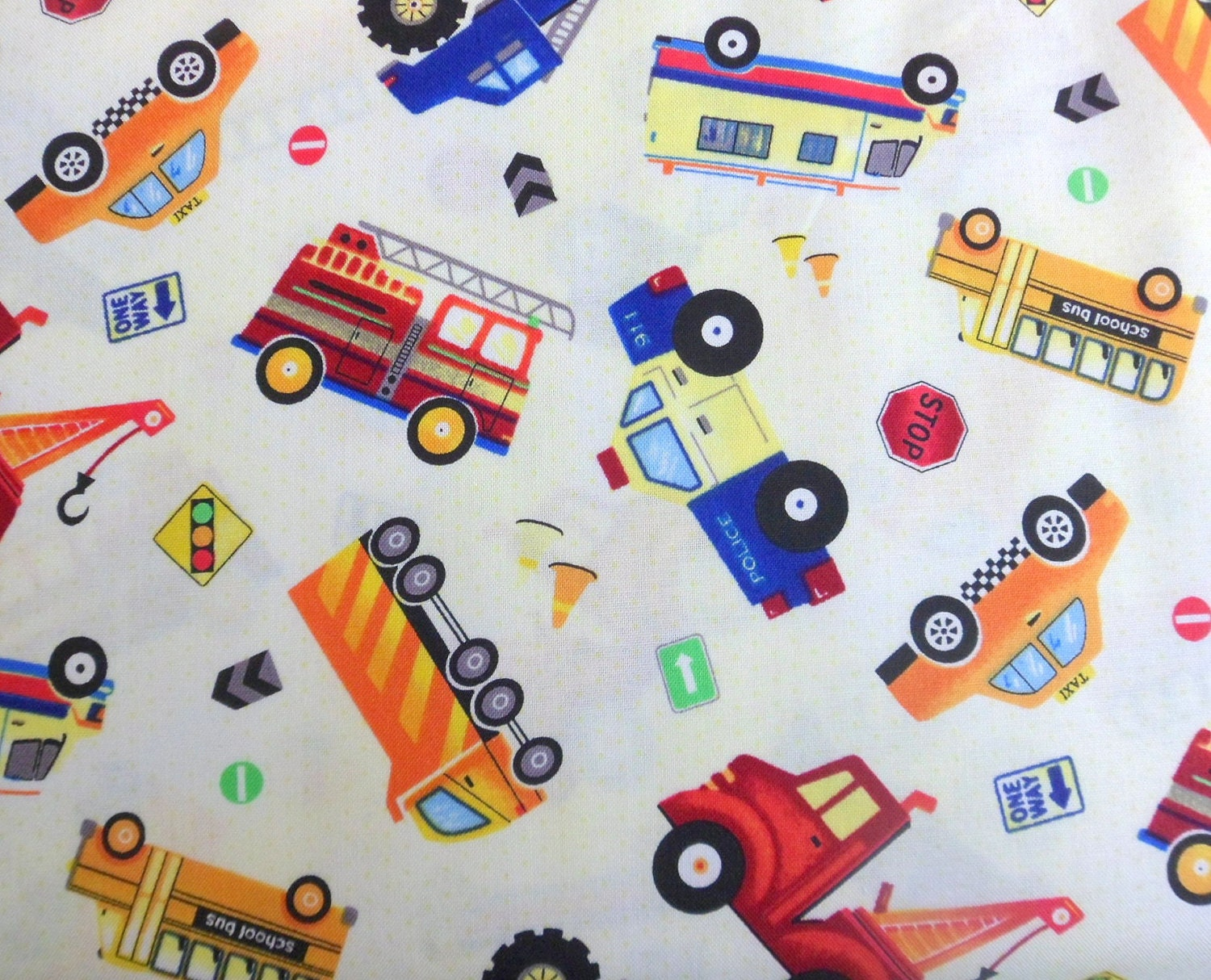 Truck fabric boys fabric truck stop cotton fabric sewing for Boys cotton fabric