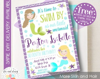 Mermaid Invitation, Mermaid Birthday Invitation, Mermaid Birthday Party, Mermaid Party Invitation, BeeAndDaisy - Skin & Hair Choices