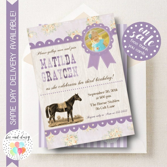 Vintage Horse Invitation Horse Birthday Invitation By