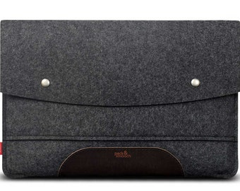 MacBook Pro 13 (Oct. 2016; with or without Touch ID) sleeve 100% wool felt, vegetable tanned leather Hampshire