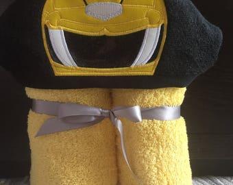 Yellow Power Ranger Hooded Towel - Power Ranger Christmas Gift - Power Ranger Birthday Gift - Personalized Power Ranger gift