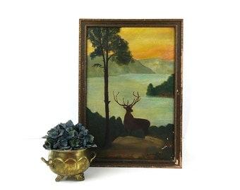Antique Wildlife Painting and Frame / Kentucky folk art / Deer and Landscape