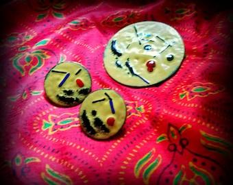 Enamel on Copper Pin and Earrings Set