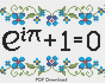 Euler's Identity Math Cross Stitch Pattern. Funny Cross Stitch. Express your intellectual superiority with math based crafts. Subversive