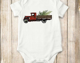 Christmas, Truck, onesie, shirt,  bodysuit, children clothing, baby, tops,shirt