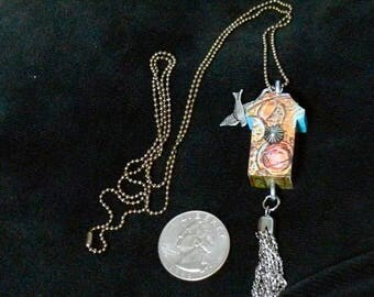 OOAK Birdhouse Necklace, Handmade, Multi-color, from Bluebird Creations, Item #2011