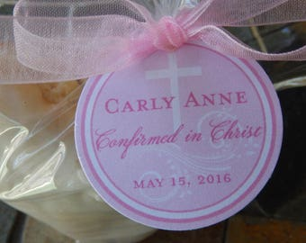 "25 Confirmation Custom Thank You 1.5"" Favor Tags - For Cake Pops - Cookie Favors - Small Mason Jar Gifts - Cross Tags - Confirmed in Christ"