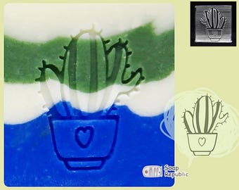 SoapRepublic Cactus Flowers 2 Acrylic Soap Stamp / Cookie Stamp / Clay Stamp