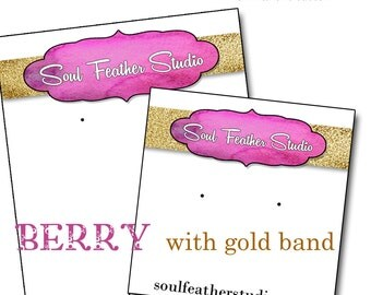 BERRY with GOLD•Custom Tags•Labels•Earring Display•Clothing Tags•Custom •Boutique Card•Tags•Custom Tags•Custom Labels