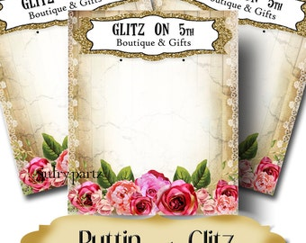 PUTTIN' on the GLITZ•Custom Tags•Labels•Earring Display•Clothing Tags•Custom •Boutique Card•Tags•Custom Tags