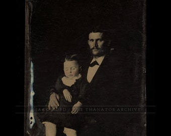 Tintype Photo - Handsome Father Holding Post Mortem Son
