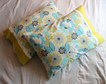 Set of 2 Standard Handmade Pillowcases - Teal and Gray - 100% Cotton - Pillowcase Set - Gifts Under 50 - Floral Pillowcase - Pillowcases