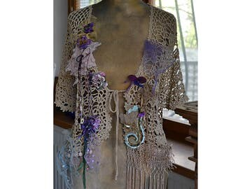 Reserved Art To Wear Silky Metallic Gold Crochet Bolero/Jacket With Lots of Glass Beads  TWENTIES AFTERNOON Gipsy Fairy Tattered