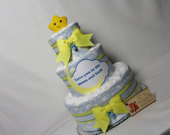 Baby Diaper Cake Love You to the Moon Shower Centerpiece Gift SELECT TOPPER